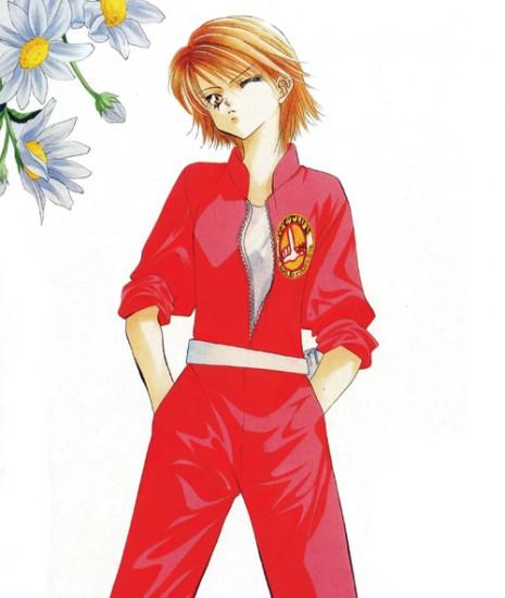 Kyoko dans sa combinaison rose flashy !
