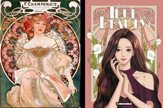 affiche Alfons Mucha et couverture de True beauty